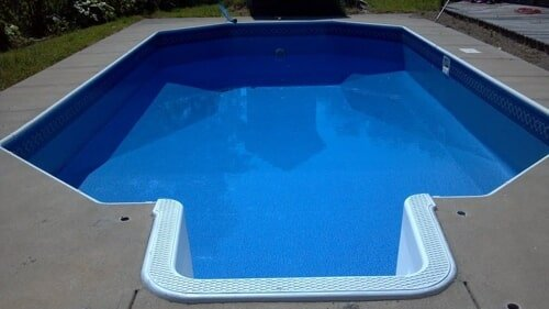 swimming pool liner installation finished